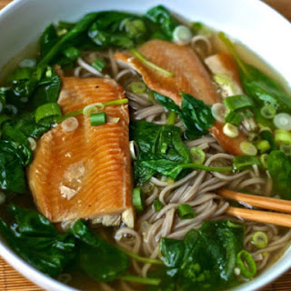 Soba Noodle Soup with Spinach and Smoked Trout.