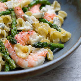 Warm Shrimp and Blue Cheese Pasta Salad.