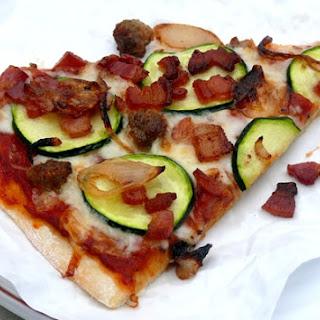 Zucchini, Bacon, Sausage & Shallot Pizza