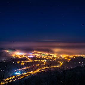 CIty of Arilje, Serbia by Marko Icelic - City,  Street & Park  Night