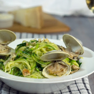 Zoodles (Zucchini Noodles) With Clam Sauce.