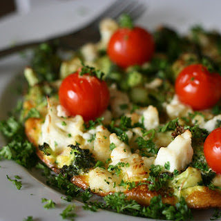 Cauliflower and Broccoli Omelet with Feta and Parsley