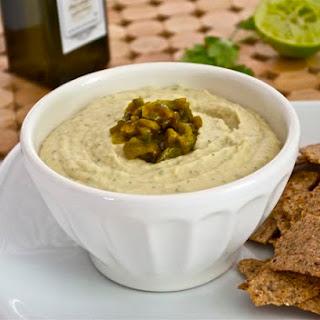 Cilantro Lime White Bean Hummus with Roasted Jalapeno