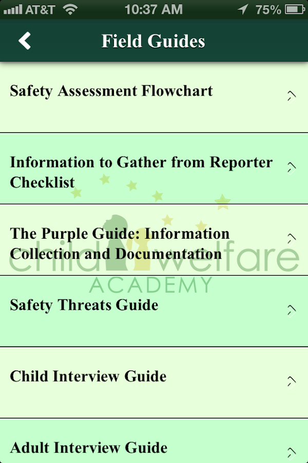 Child Welfare Academy- screenshot