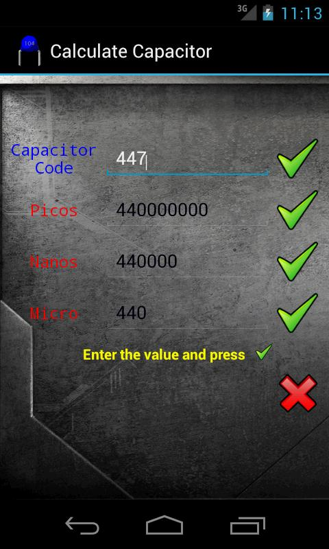 Calculate Capacitor- screenshot