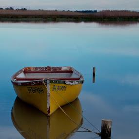 Deborah by Adéle van Schalkwyk - Transportation Boats ( clouds, aky, reflection, yellow, boat, anchor, river )