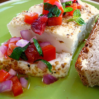 Grilled Feta with Blood Orange, Red Pepper and Mint Salsa Recipe