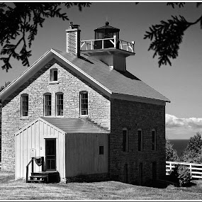 Rock Island Lighthouse monochrome by Jebark Fineartphotography - Black & White Buildings & Architecture ( wisconsin, lake michigan, monochrome, black and white, black & white, bw, lighthouse, usa )