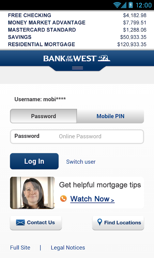 Bank of the West Mobile - screenshot