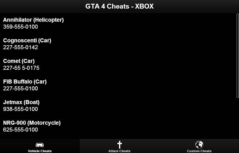Коды на GTA 4 на Xbox