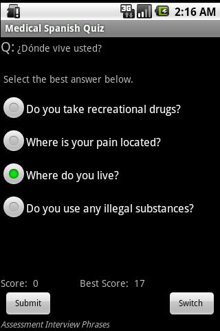Medical Spanish Guide & Quiz- screenshot