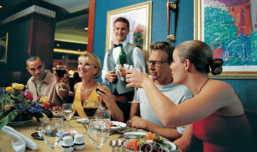 Voyager-of-the-Seas-dining-couples - Voyager of the Seas dining options range from formal to the very casual.