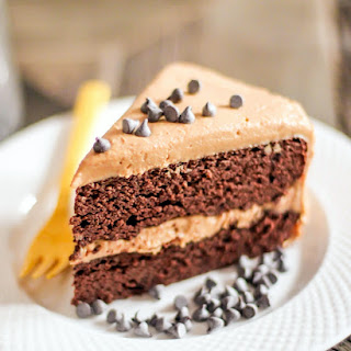 Healthy Chocolate Cake with Peanut Butter Frosting (sugar free, low carb, high protein, gluten free).