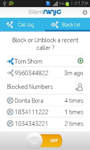 Screenshots for SilentNinja DND call blocker