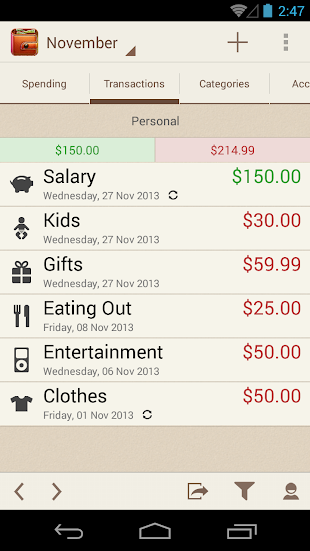 Spending Tracker- screenshot