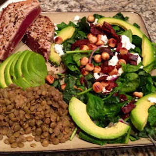 Raw Kale & Spinach Salad with Smoked Bacon, Chèvre, & Toasted Hazelnuts.
