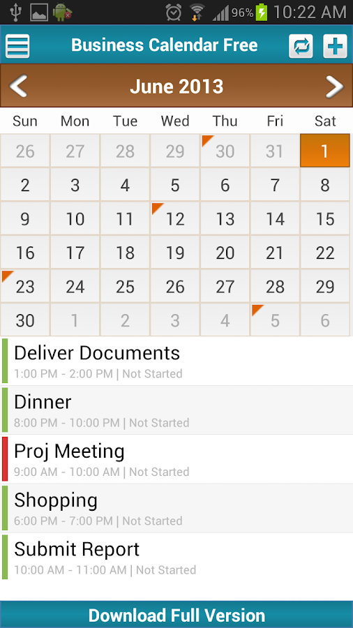 Business Calendar Free - screenshot