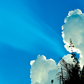 The Ray of Hope. by Souvik Kundu - Landscapes Cloud Formations ( clouds, blue sky, sunny, outdoor, ray of light,  )