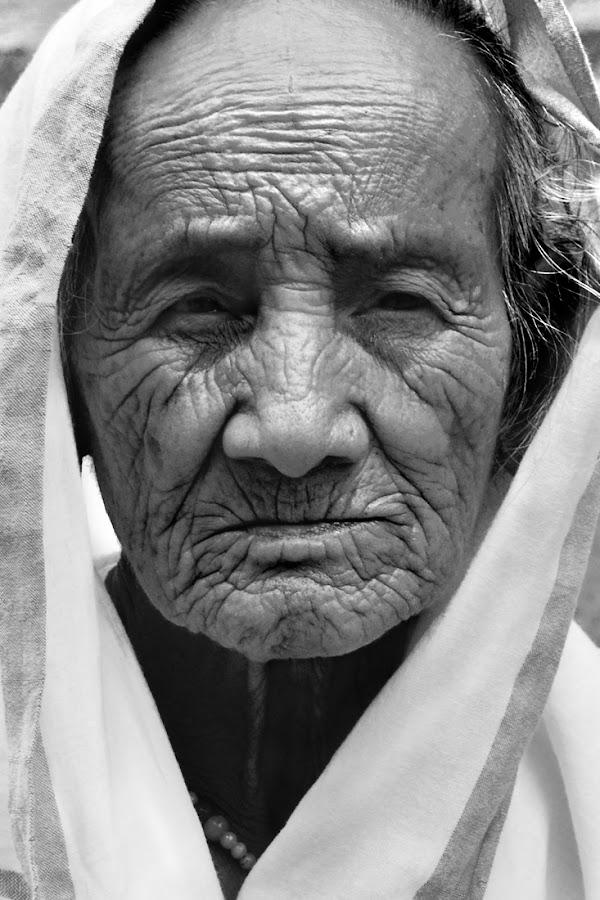 Lost Dreams by Kumud Lekhok - People Portraits of Women ( old, dreams, black and white, india, portrait )