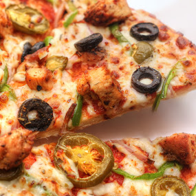 Tex Mex Pizza by Muhammad Habib Ul Haque - Food & Drink Eating ( chicken, texmex, chillies, italian food, capsicum, pizza, dominos pizza, olives )