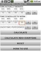 Screenshot of Cop's Overtime Calculator