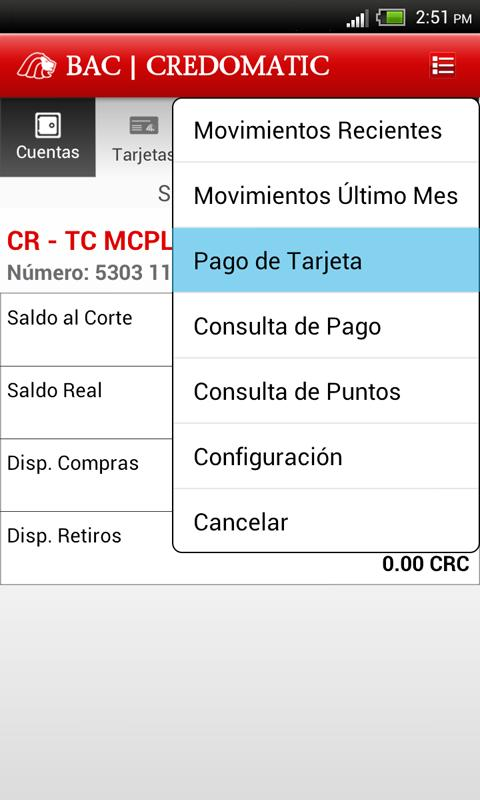 Mobile Banking BAC Credomatic- screenshot