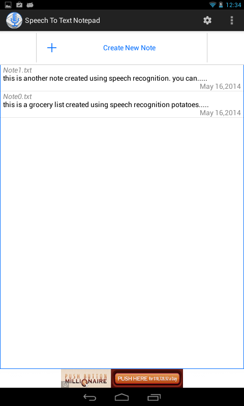 Speech To Text Notepad– captura de ecrã