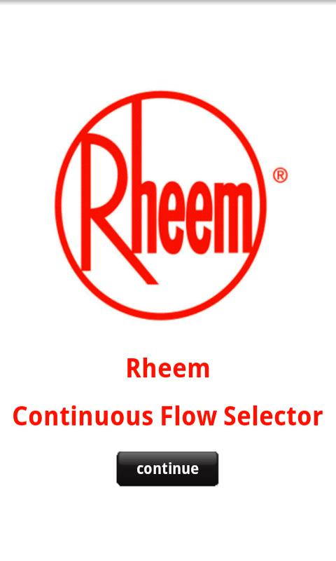 Rheem Continuous Flow Selector- screenshot