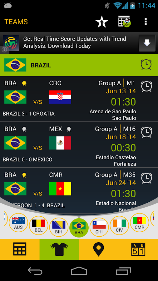 Football Schedule Brazil 2014 - screenshot