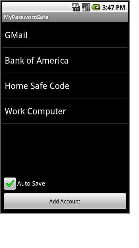 MyPasswordSafe- screenshot