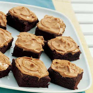 Chocolate Brownies with Peanut Butter Frosting.