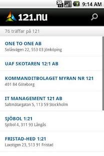 121.nu Företagssök - screenshot thumbnail