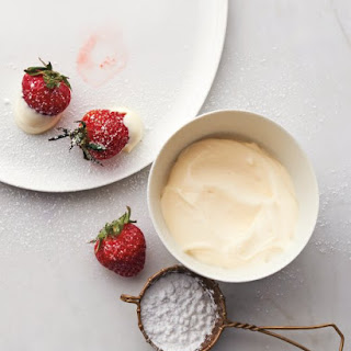 Strawberries with Creme Fraiche and Sugar.