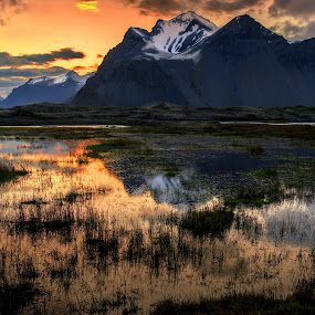 Mountains Reflections by Lillian Molstad Andresen - Landscapes Mountains & Hills ( water, clouds, sand, hills, may, 2014, grass, vestrahorn mountain, moss, reflections, landscape, mountains, iceland, stockksness, sky, nature, nikon d800, sunset, snow, stones, rocks, straws,  )