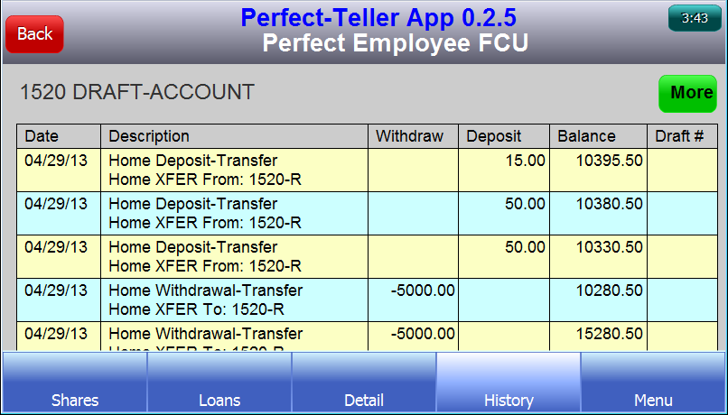 Perfect Teller - ptApp - screenshot
