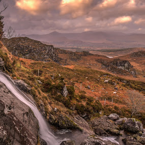 Looking into West Kerry by F Kelly - Landscapes Mountains & Hills ( stream, ireland, waterfall, kerry, glenbeigh )
