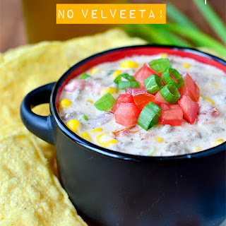 Crock Pot Beef and Sweet Corn Queso Dip (No Velveeta!)