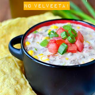 Crock Pot Beef and Sweet Corn Queso Dip (No Velveeta!).