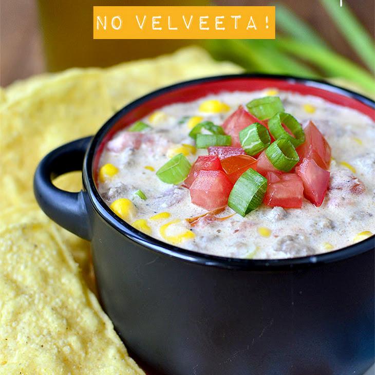 Crock Pot Beef and Sweet Corn Queso Dip (No Velveeta!)