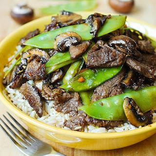 Asian Beef with Mushrooms & Snow Peas.