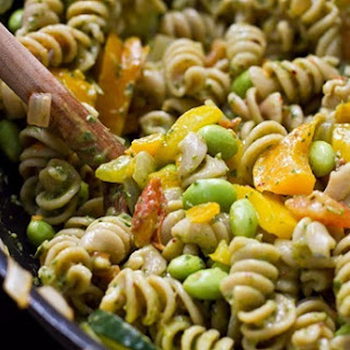 Vegetable and Edamame Pasta with Basil Cream Sauce Recipe