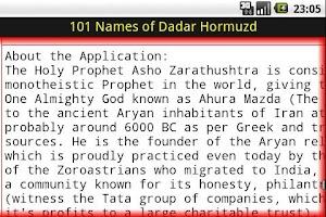 Screenshot of 101 Names of Dadar Hormuzd