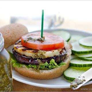 Grilled Eggplant, Halloumi and Pesto Burgers