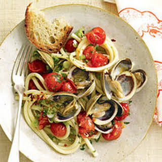 Spaghetti and Clam Sauce with Grape Tomatoes.