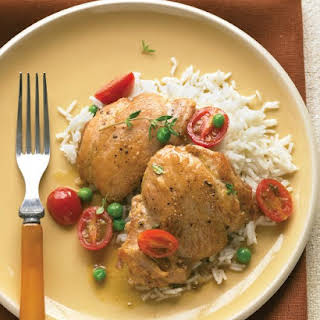 Braised Chicken with White Wine, Tomatoes, and Peas.