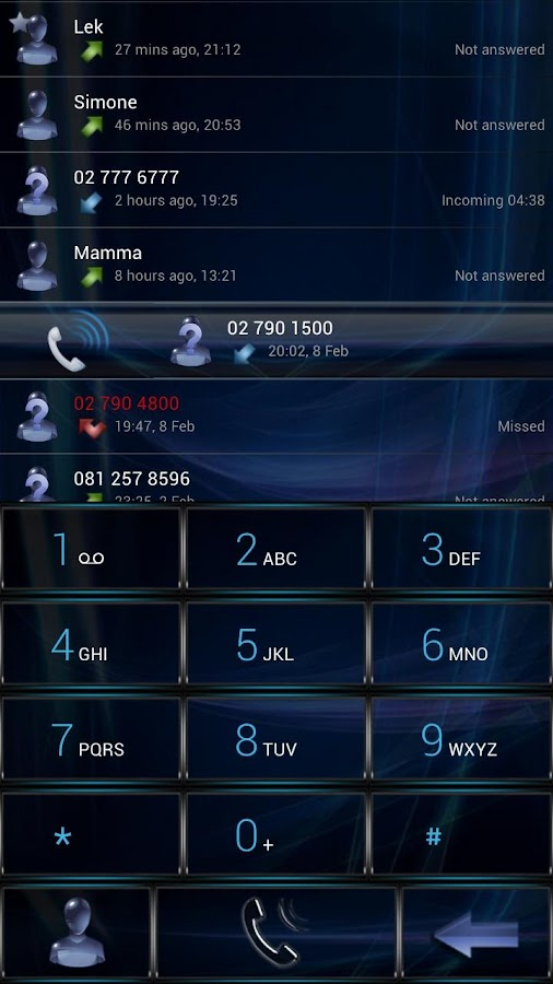 Dialer GlassBlue Metal theme- screenshot