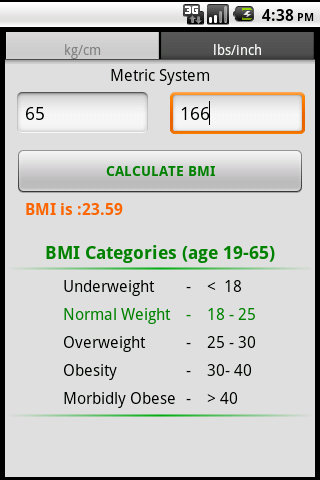 BMI Calculator - screenshot