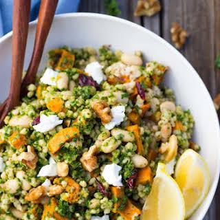 Sorghum, Sweet Potato & White Bean Salad with Kale Pesto.
