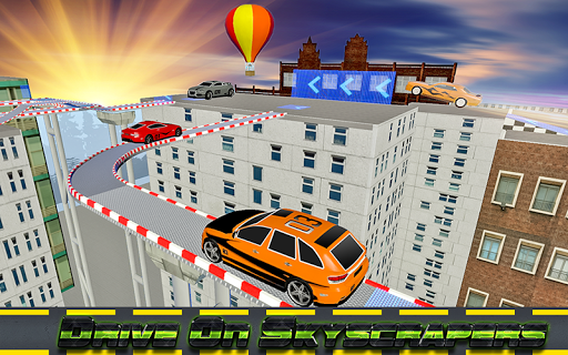 屋頂跳躍的汽車特技表演