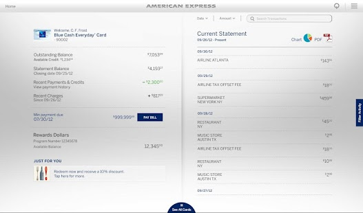 Amex for Tablet - screenshot thumbnail